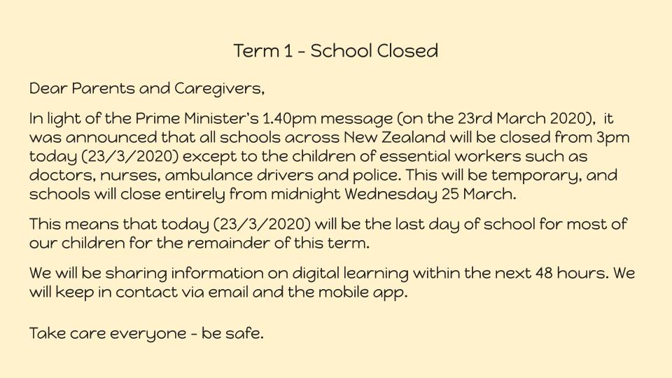 School closed from the 23rd March 2020 (23.3.2020), at 3pm.