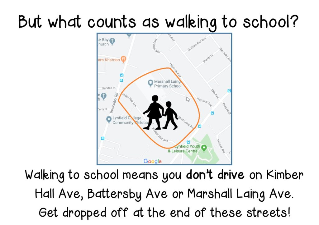 Walking to school image - from the end of Kimber Hall, Marshal Laing Ave etc.